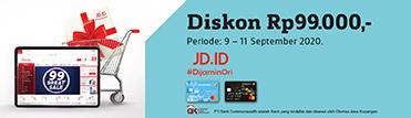 Diskon Rp99.000,- di JDID. Berlaku 9 – 11 September 2020