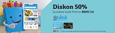 Diskon 50% hingga maksimum Rp50.000,- di Blibli.com