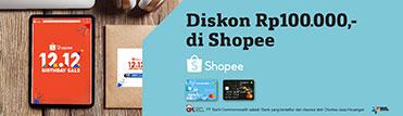Diskon Rp100.000,- di Shopee. Berlaku hingga 11 Desember 2020