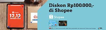 Diskon Rp100.000,- di Shopee. Periode 13-14 Desember 2020